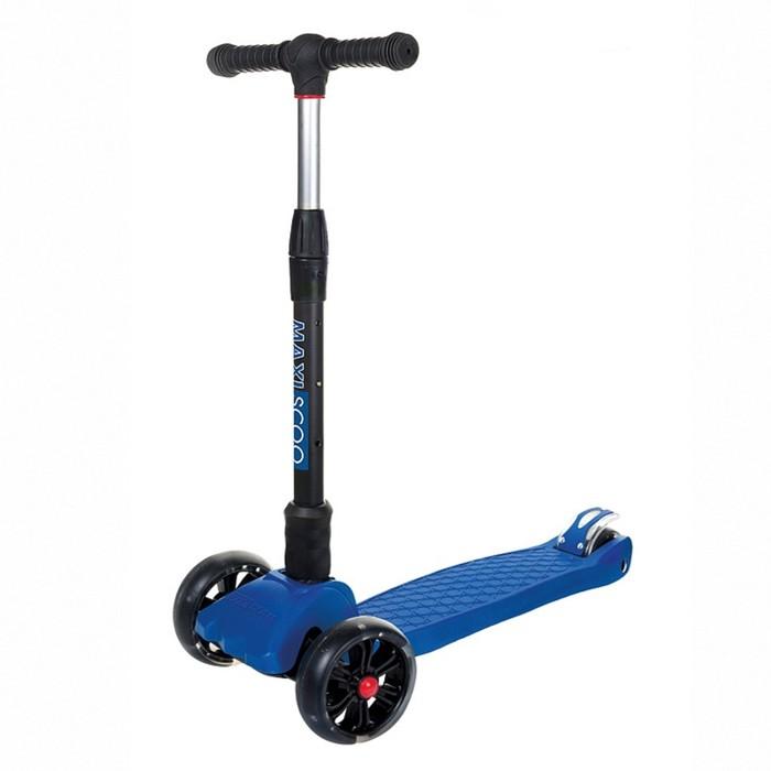 Самокат Maxiscoo Junior Delux складной со светящимися колесами, цвет темно-синий