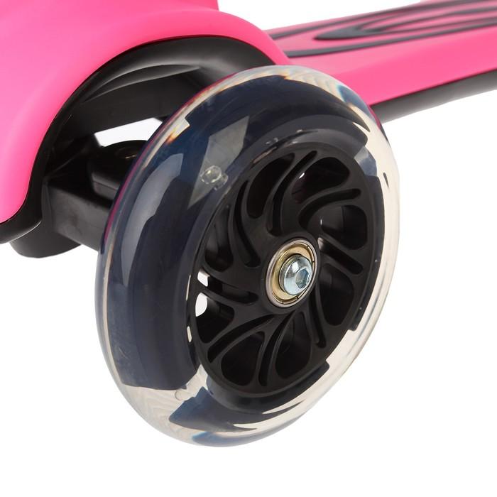 Самокат складной, колёса световые PU d=120 мм, музыка, АВЕС 7, аморт, цвет розовый