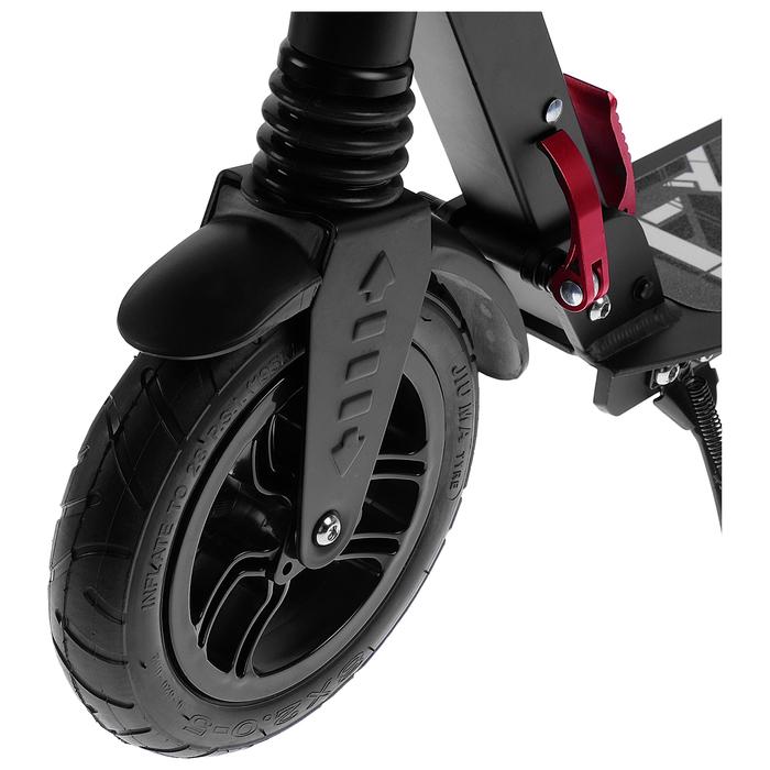 Самокат алюминиевый, складной, колёса надувные d=200 мм, 2 амортизатора, цвет чёрный