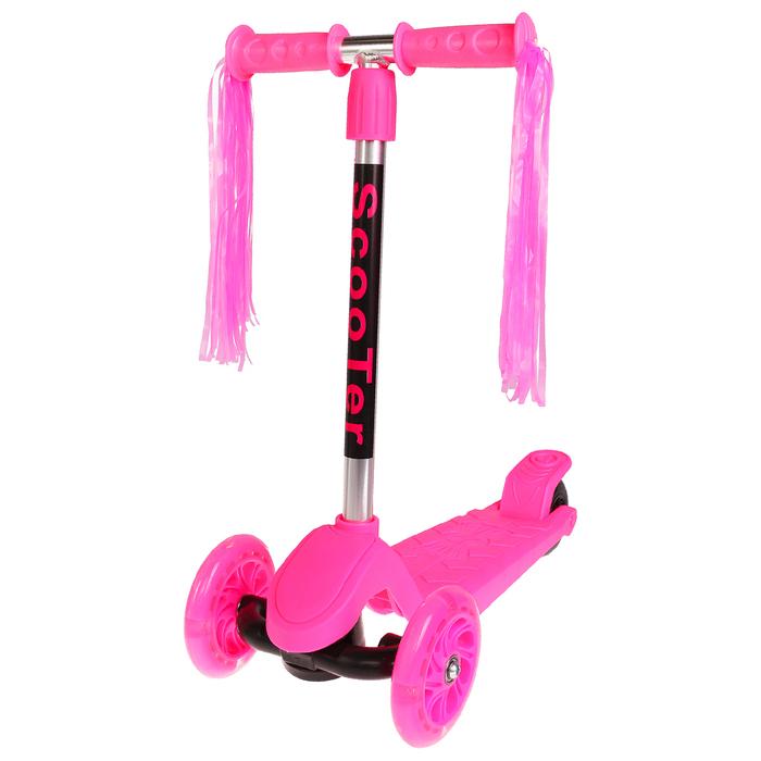 Самокат стальной, колёса световые PU 120/100 мм, цвет розовый