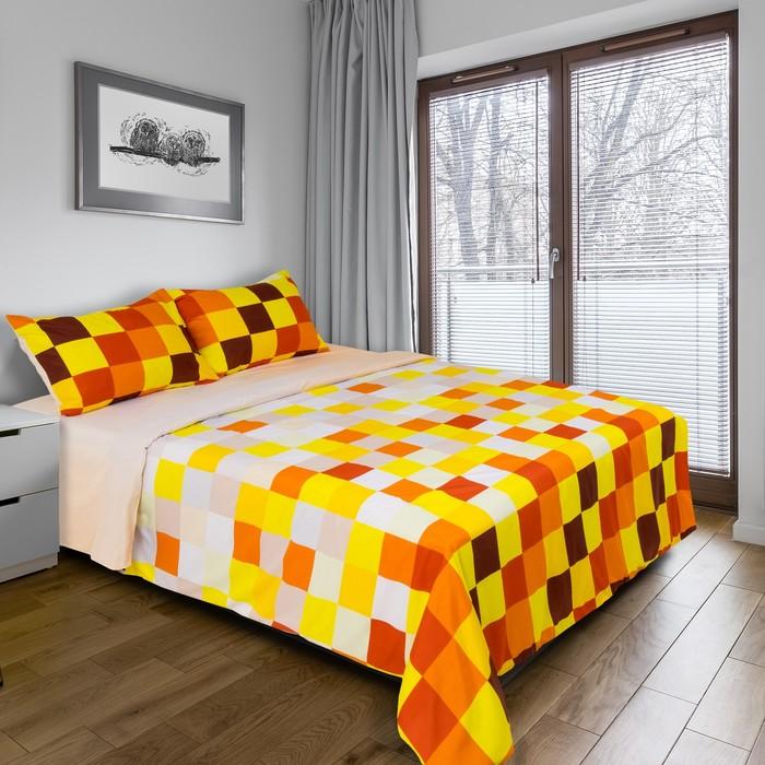 """Постельное бельё """"Этель"""" дуэт Пиксели (жёлтый) 150х210 см - 2 шт, 220х240 см, 50х70 ± 3 см - 2 шт., новосатин"""