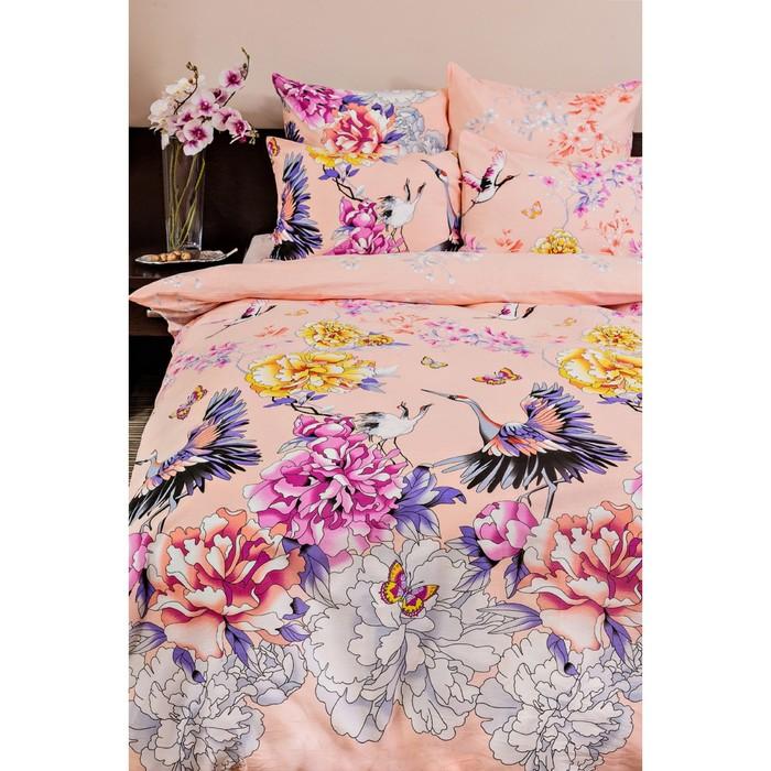 Постельное бельё 2сп Ночь Нежна «Журавли», цвет розовый, 175х215см, 180х220см, 70х70см — 2 шт