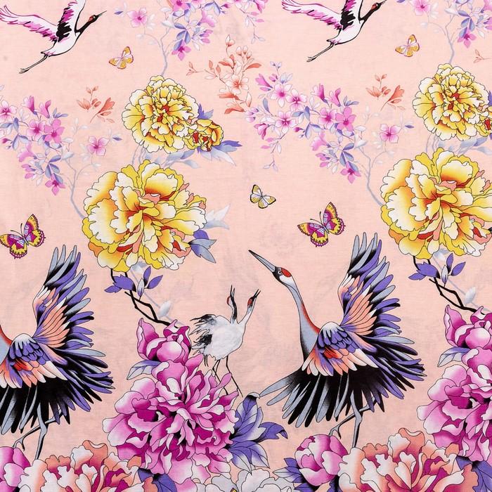 Постельное бельё Евро Ночь Нежна «Журавли», цвет розовый, 200х220см, 200х220см, 70х70см — 2 шт
