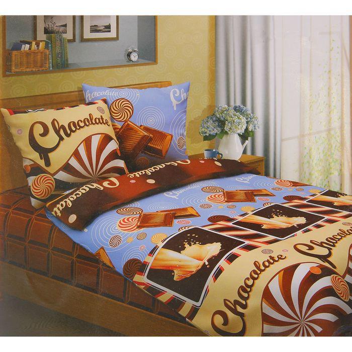 """Постельное бельё евро""""Традиция: Шоколад"""", 200х217 см, 220х240 см, 70х70 см - 2 шт"""