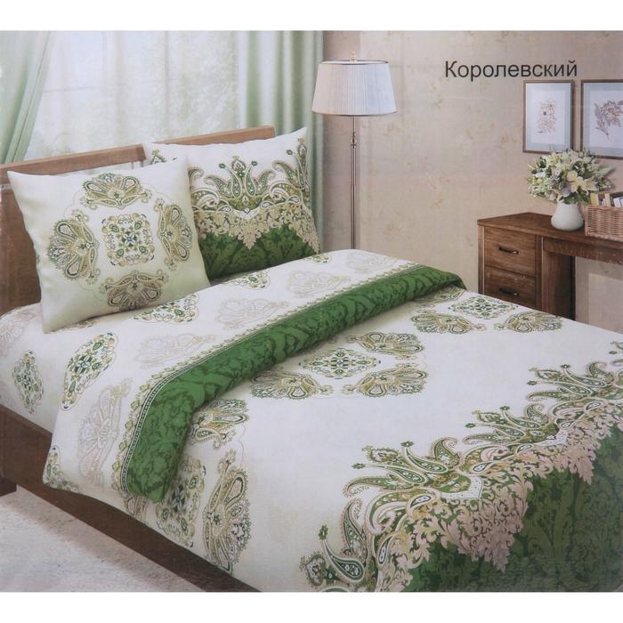 """Постельное бельё евро""""Традиция: Королевский"""", цвет зелёный, 200х217 см, 220х240 см, 70х70см - 2 шт"""