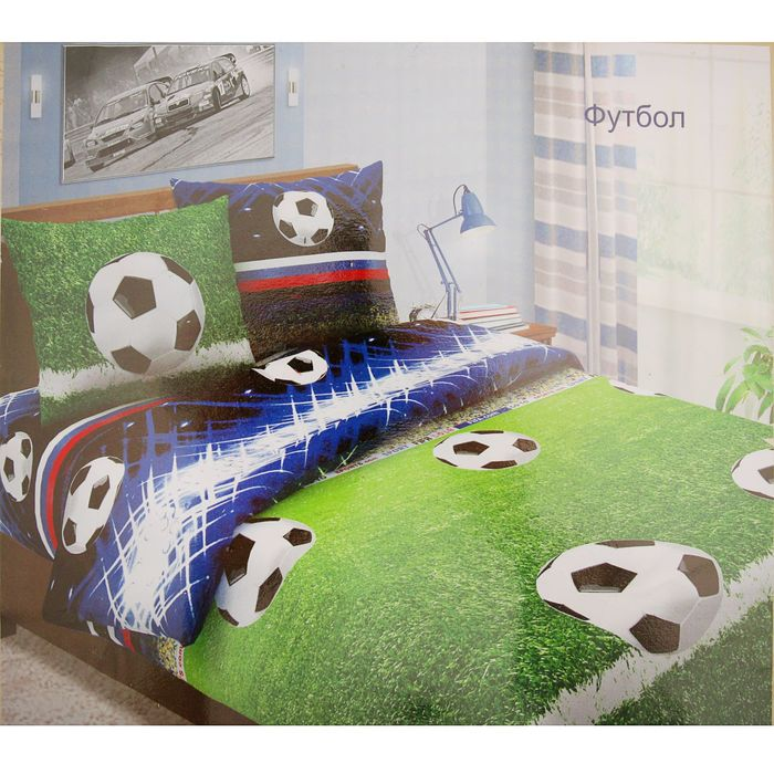 """Постельное бельё евро""""Традиция: Футбол"""", 200х217 см, 220х240 см, 70х70 см - 2 шт"""