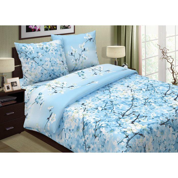 """Постельное бельё 2сп""""Pastel: Сакура"""", цвет голубой, 175х217, 180х220, 70х70см - 2 шт"""