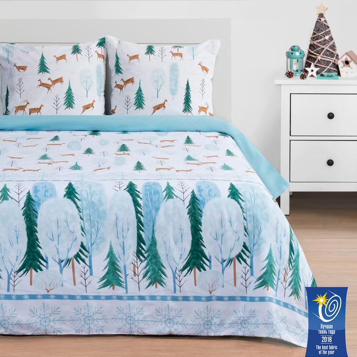 Постельное бельё «Этель» Зимний лес, 2-сп., 175 × 215 см, 200 × 220 см, 70 × 70 см, 2 шт., поплин