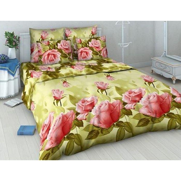 Постельное бельё евро «Василиса» Нежная роза 200х215 см, 200х220 см, 70х70 см - 2 шт.