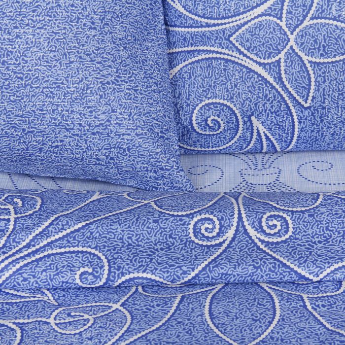 "Постельное бельё дуэт""Традиция: Жемчужина"", цвет голубой, 147х217 см - 2 шт,220х240, 70х70см - 2 шт"