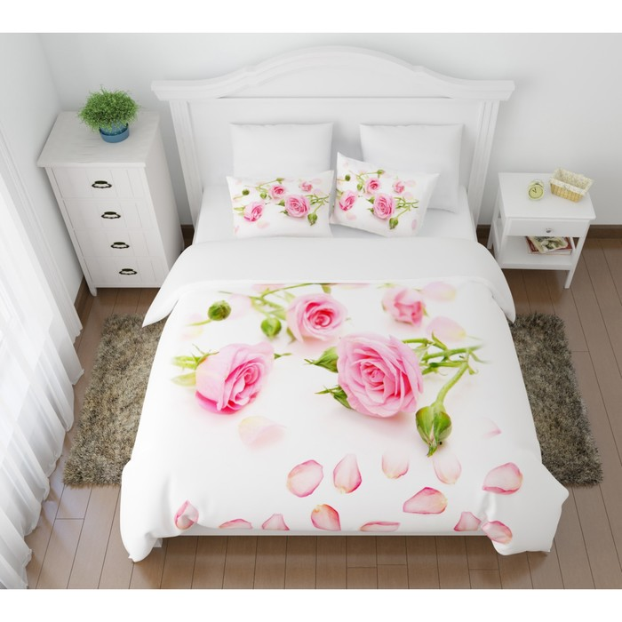 КПБ «Лепестки роз» евро, размер 220× 240 см, 200×220 см, 50×70 см, 70×70 см по 2 шт