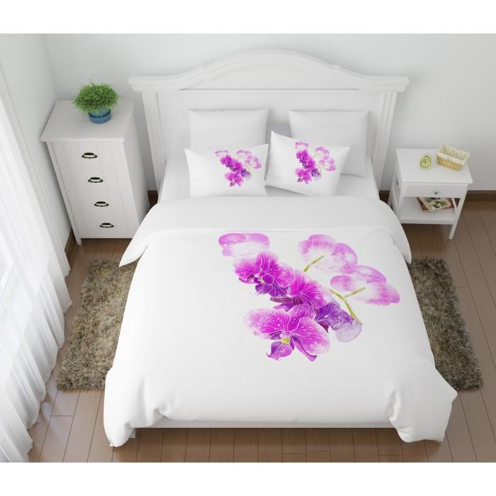 КПБ «Ветка орхидеи» евро, размер 220 × 240 см, 200 × 220 см, 50 × 70 см-2 шт