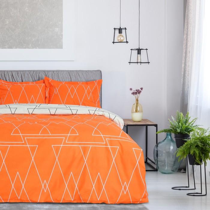 Постельное бельё 2 сп. Этель Люкс «Апельсин» 180×210 см, 200×220 см, 50×70 + 5 см - 2 шт, сатин, 100% хл, 130 г/м²