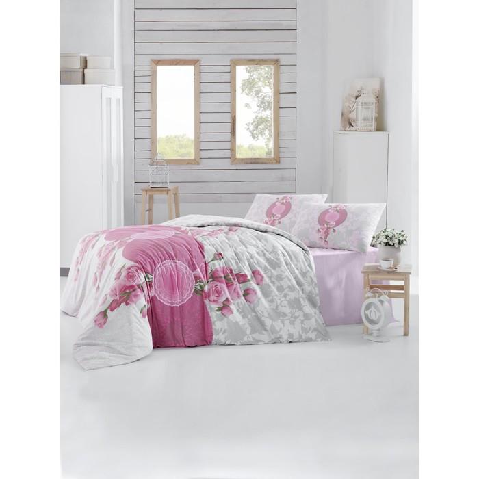 КПБ Rosen евро, 240х260 см, 200х220 см, 50х70 см-2 шт.. цвет розовый, ранфорс 115 г/м2 297/33   3146