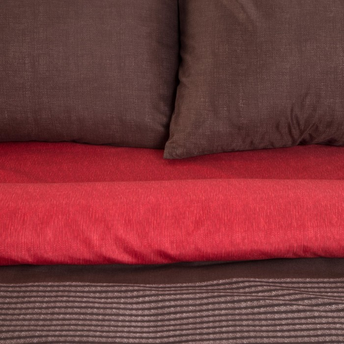 Постельное бельё Этель 2 сп. «Стиль» цвет бордовый 180×210 см, 220×240 см, 50×70 ± 3 см - 2 шт., новосатин