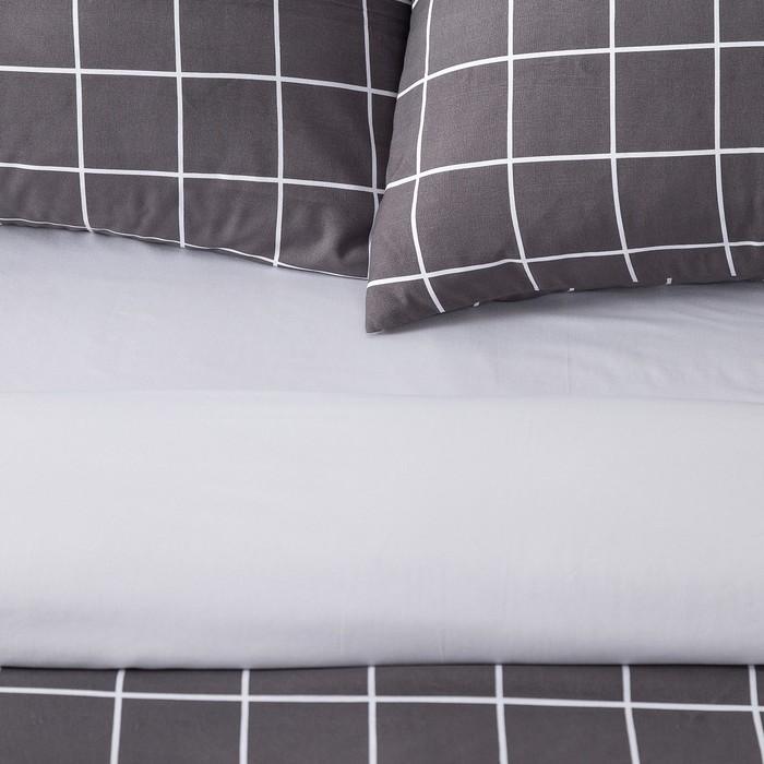 Постельное бельё Этель 2 сп. «Клетка» цвет черный 180×210 см, 220×240 см, 50×70 ± 3 см - 2 шт., новосатин