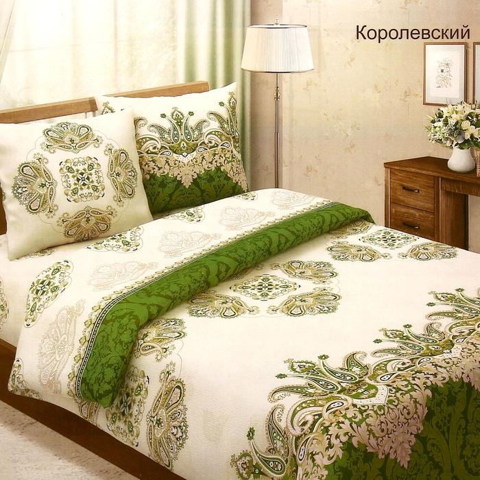 """Постельное бельё 1,5сп""""Традиция: Королевский"""", цвет зелёный, 147х217 см, 150х220 см, 70х70 см - 2 шт"""