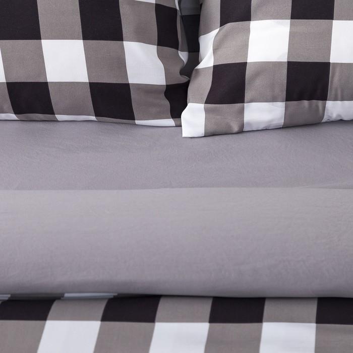 Постельное бельё Этель евро «Клетка» цвет черно-белый 200×220см, 220×240см, 50×70 ± 3 см-2 шт, новосатин