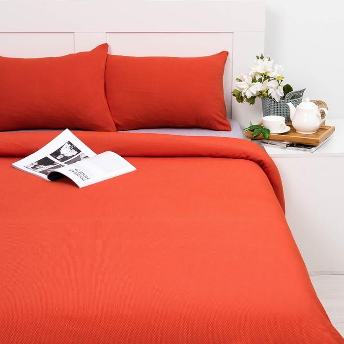 Постельное бельё Лакоста 1,5 сп оранжевый 150х220см, 140х200см, 50х70см - 2 шт, трикотаж, хл 100%