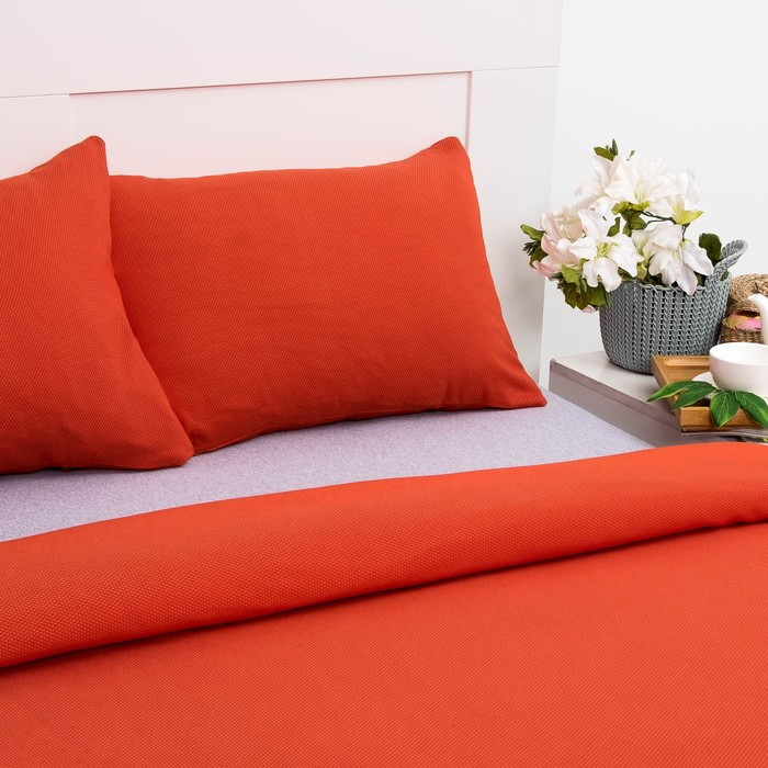 Постельное бельё Лакоста 2 сп оранжевый 180х220см, 180х200см, 50х70см-2 шт, трикотаж, хл 100%