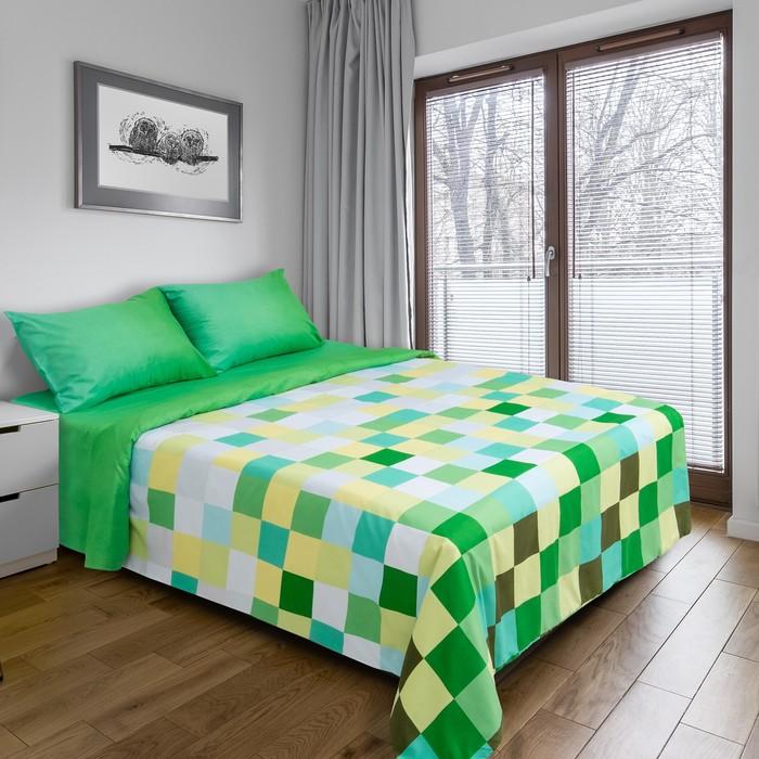 """Постельное бельё """"Этель"""" 1,5 сп. Пиксели (зелёный) 150х210 см, 150х210 см, 50х70 ± 3 см - 2 шт., новосатин"""