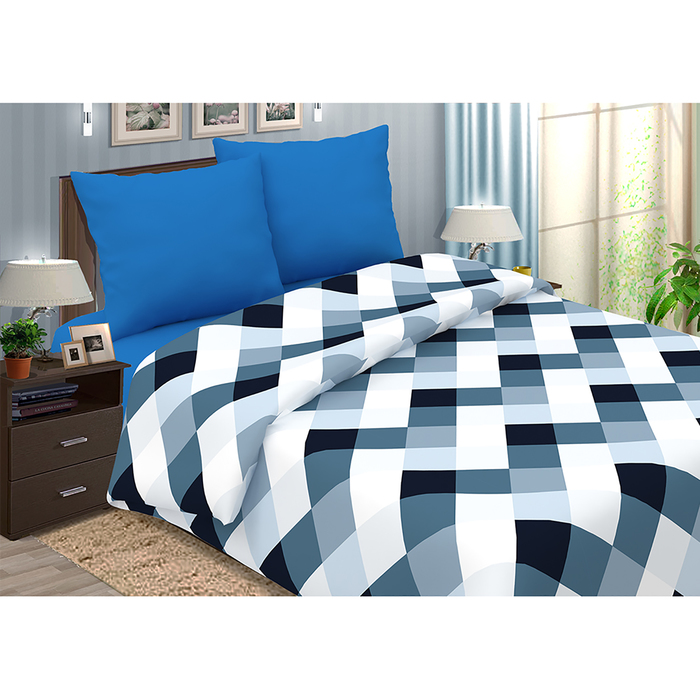 """Постельное бельё дуэт""""Pastel: Арманд"""", цвет синий, 147х217 - 2 шт, 220х240, 70х70 см - 2 шт"""