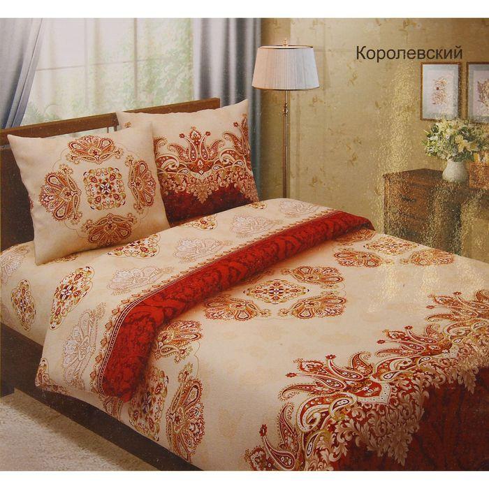 """Постельное бельё 2сп""""Традиция: Королевский"""", цвет коричневый, 175х217 см, 180х220 см, 70х70 см - 2 шт"""