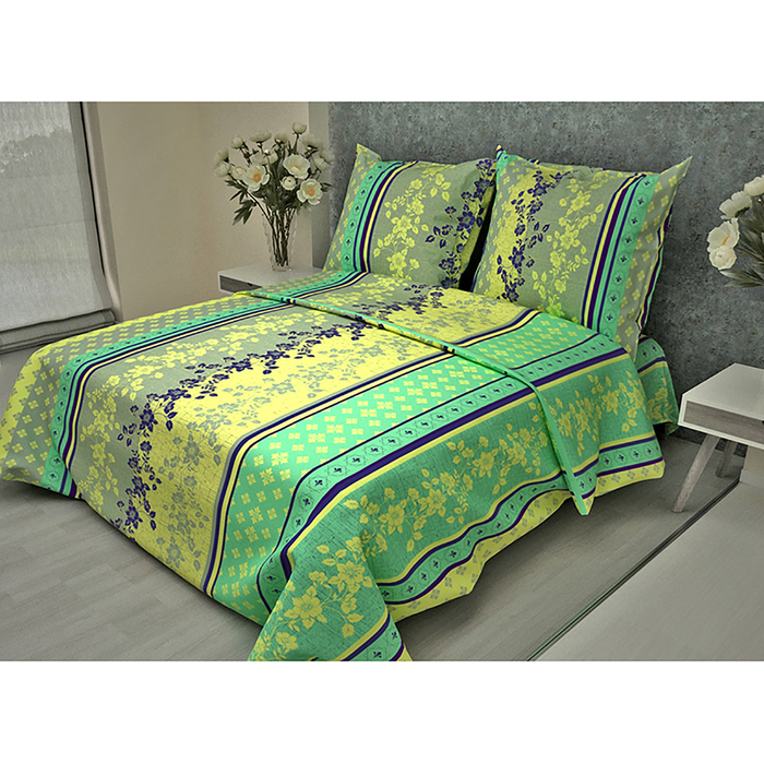 Постельное бельё 2 сп. La Marka Home рис.Орнамент зеленый 175х210, 180х210, 70х70 2шт бязь 100г/м, хл100%