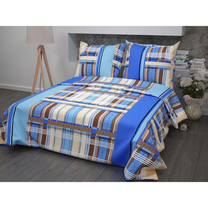 Постельное бельё 1,5 сп Samy «Геометрия», цвет синий, 147х215 см, 150х215 см, 70х70 см -2 шт бязь