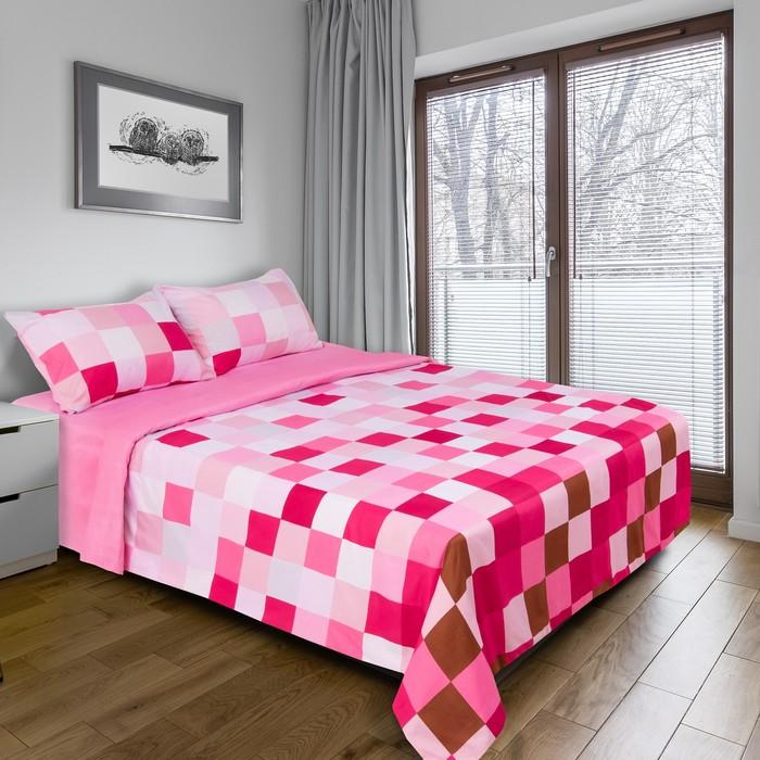 """Постельное бельё """"Этель"""" дуэт Пиксели (розовый) 150х210 см - 2 шт, 220х240 см, 50х70 ± 3 см - 2 шт., новосатин"""