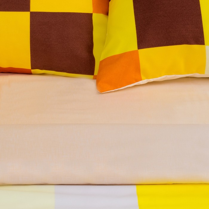"""Постельное бельё """"Этель"""" евро Пиксели (жёлтый) 200х220 см, 220х240 см, 50х70 ± 3 см - 2 шт., новосатин"""