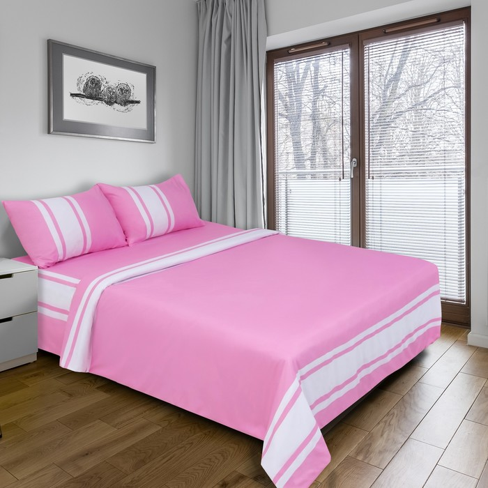 """Постельное бельё """"Этель"""" евро Дерби (розовый) 200х220 см, 220х240 см, 50х70 ± 3 см - 2 шт., новосатин"""