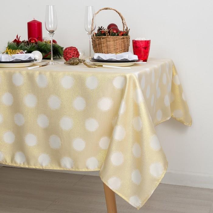 Скатерть Доляна «Золотые шарики» цвет золотой, 110×150 см, 115 ± 10 г/м², 100% п/э