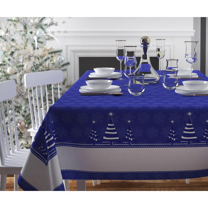 Скатерть с пропиткой «Синие ёлочки», 120х140 см, оксфорд, 240 г/м2, 100% полиэстер