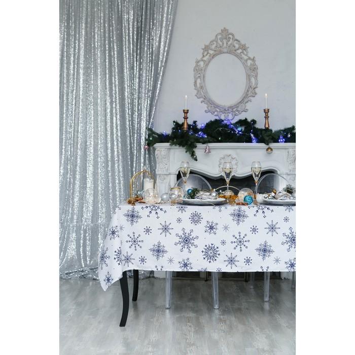 """Скатерть """"Доляна"""" Синие снежинки 220х149 см, 100% хлопок, 164 г/м2"""