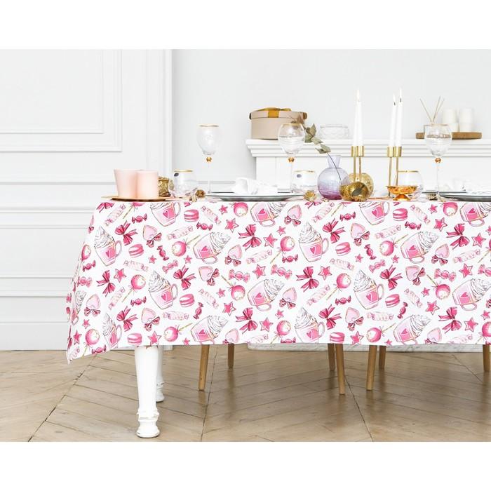 """Скатерть """"Доляна"""" Розовые сладости 220х149 см, 100% хлопок, 164 г/м2"""