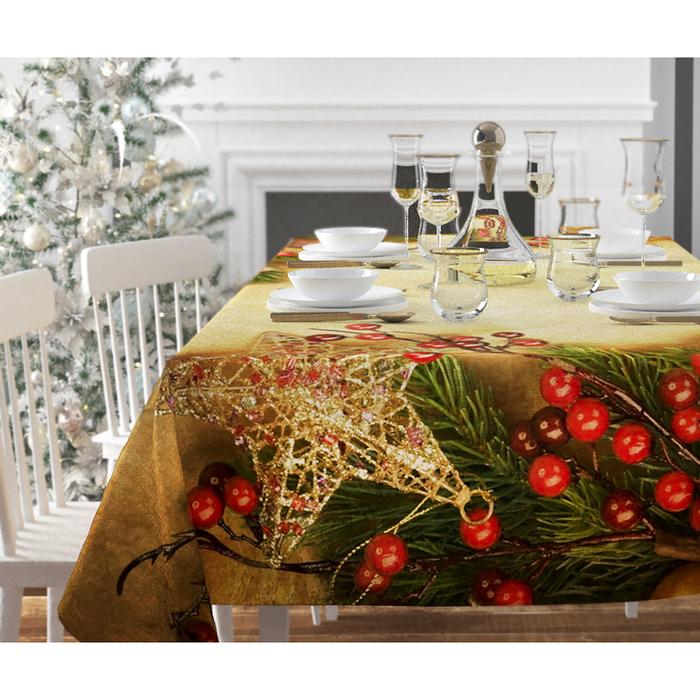 Скатерть с пропиткой «Звезды и брусника», 140х220 см, оксфорд, 240 г/м2, 100% полиэстер