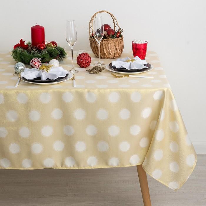 Скатерть Доляна «Золотые шарики» цвет золотой, 150×280 см, 115 ± 10 г/м², 100% п/э