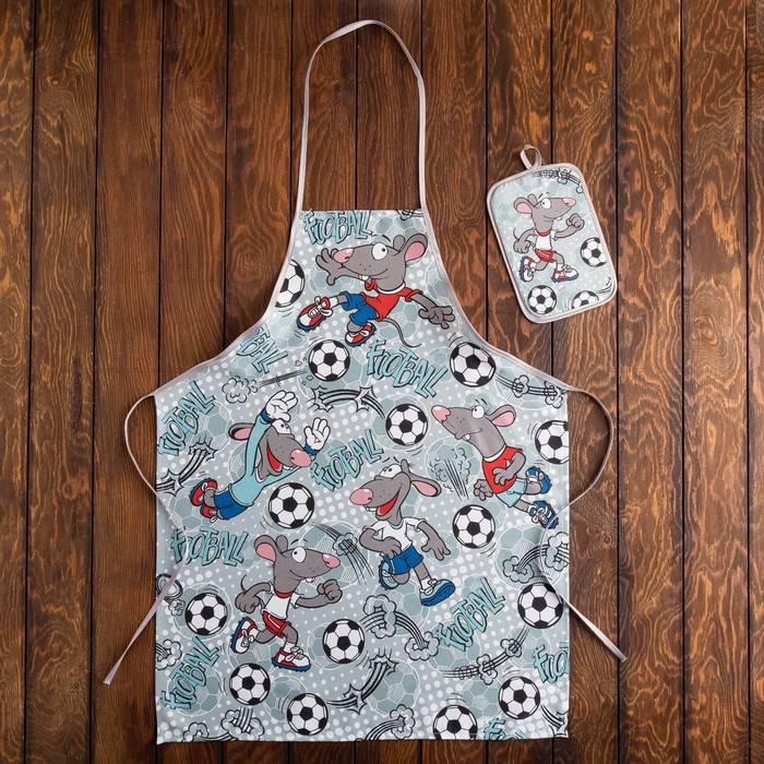 Кухонный набор Футболист фартук 60х80, прихватка 22х15 см, голубой