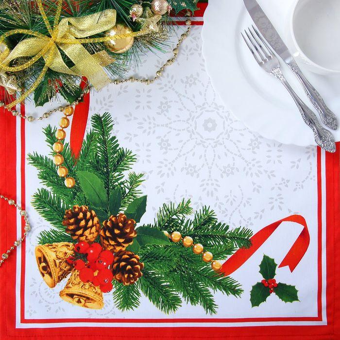"""Набор столовый Этель """"Рождественский балл"""" скатерть 180*150 см, салфетки 40*40 см 8 шт, хлопок 100%"""
