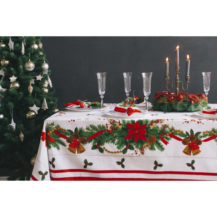 """Набор столовый Этель """"Рождественский балл"""" скатерть 220*150 см, салфетки 40*40 см 12 шт, хлопок 100%"""