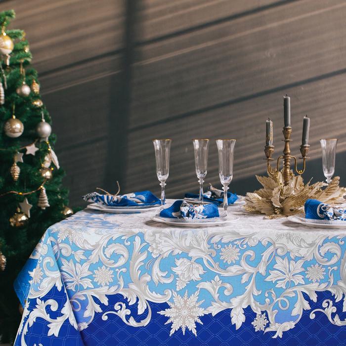 """Набор столовый Этель """"Зимние узоры"""", скатерть 220 х 150 см, салфетки - 12 шт, 100% хл"""