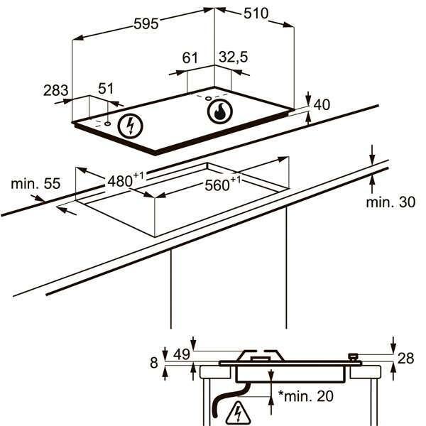 Встраиваемая поверхность Electrolux GPE263YK