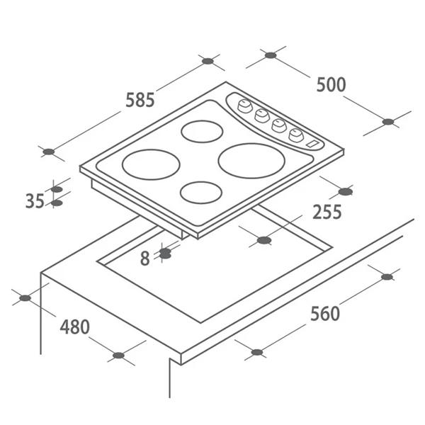 Стеклокерамическая варочная панель Candy PLE 64W