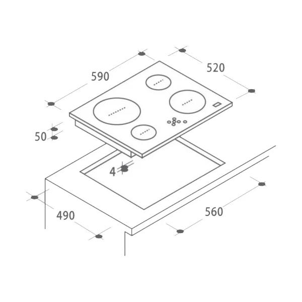 Стеклокерамическая варочная панель Candy CH64FC
