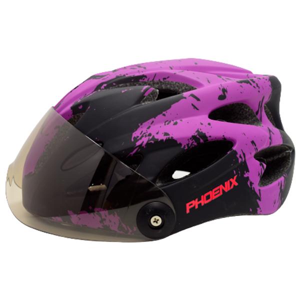 Шлем велосипедный Phoenix H-718 с очками Black/Purple