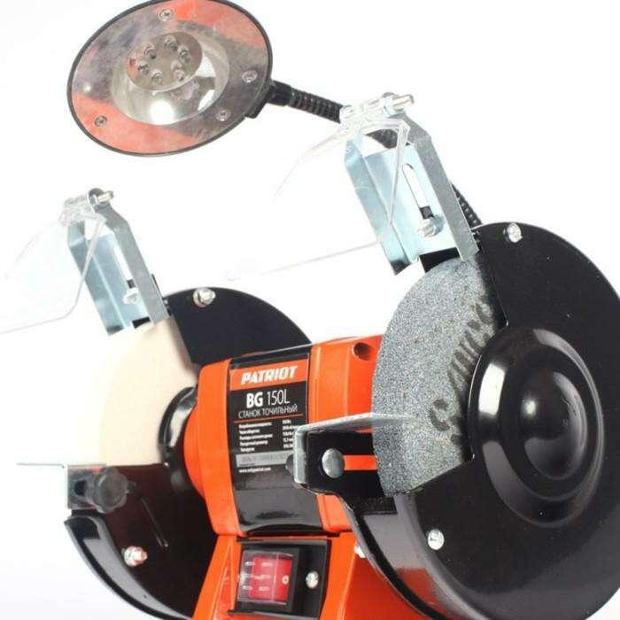 Станок точильный PATRIOT BG150L, 150 Вт, диски 150х32х12.7 мм, 2950 об/мин, подсветка