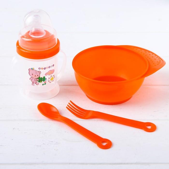 Набор детской посуды, 4 предмета: миска 300 мл, бутылочка для кормления 180 мл, ложка, вилка, цвета МИКС