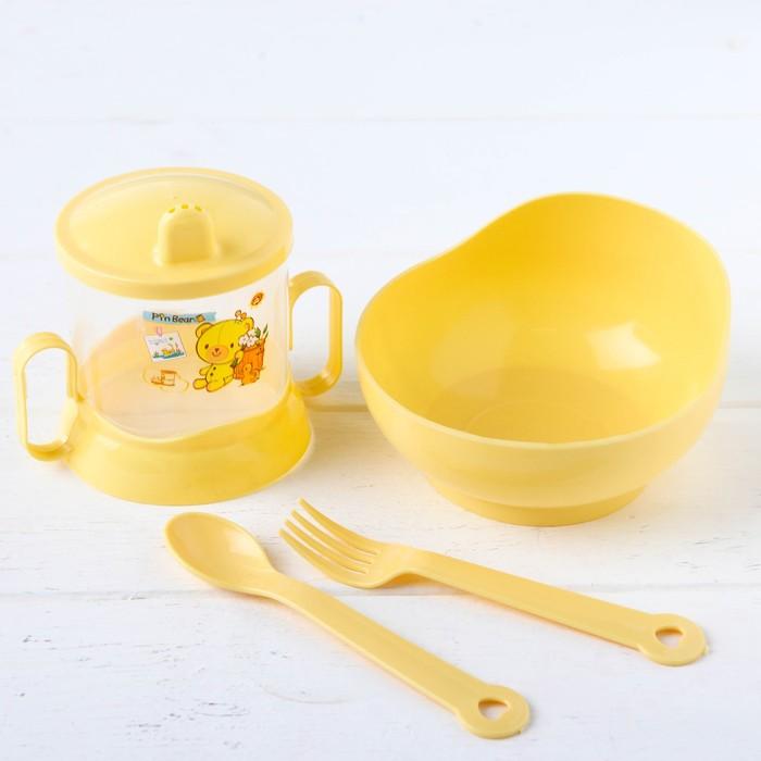 Набор детской посуды, 4 предмета: миска, ложка, вилка, поильник с твёрдым носиком 200 мл, цвета МИКС