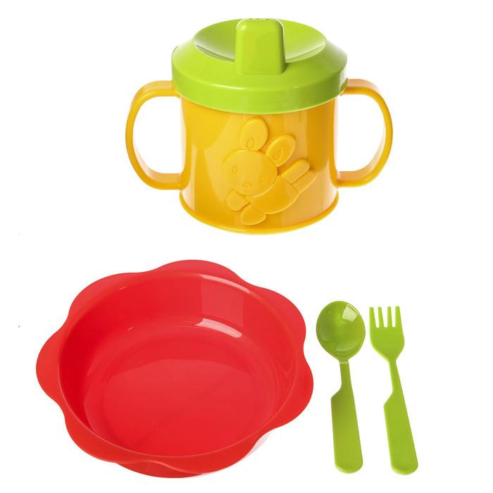 Набор детской посуды, 4 предмета: тарелка глубокая 16 см, кружка-поильник 180 мл, ложка, вилка, от 6 мес., цвет красный/зелёный